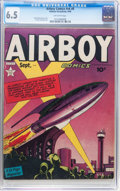 Golden Age (1938-1955):War, Airboy Comics V6#8 (Hillman Fall, 1949) CGC FN+ 6.5 Off-whitepages....