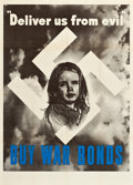 "Movie Posters:War, World War II Propaganda Poster (U.S. Government Printing Office, 1943). Poster (40"" X 28""). ""Deliver Us from Evil."". ..."