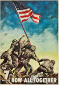 "Movie Posters:War, World War II Propaganda (U.S. Government Printing Office, 1945).7th War Loan Poster (26"" X 37"") ""Now - All Together."". ..."
