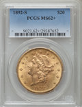 Liberty Double Eagles: , 1892-S $20 MS62+ PCGS. PCGS Population (1287/687). NGC Census: (1473/404). Mintage: 930,150. Numismedia Wsl. Price for prob...