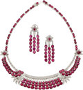 Estate Jewelry:Suites, Ruby, Diamond, White Gold Jewelry Suite. ...