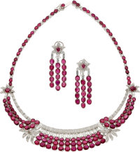 Ruby, Diamond, White Gold Jewelry Suite