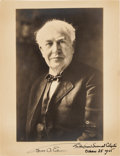Autographs:Inventors, Thomas Edison Inscribed Photograph Signed....