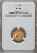 Indian Quarter Eagles: , 1911 $2 1/2 MS64 NGC. NGC Census: (1232/168). PCGS Population(671/104). Mintage: 704,000. Numismedia Wsl. Price for proble...