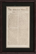 Miscellaneous:Newspaper, [Salem Witch Trials]. Periodical: The Athenian Mercury....
