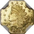 California Fractional Gold, 1872/1 50C Indian Octagonal 50 Cents, BG-937, High R.4, MS66Prooflike NGC....
