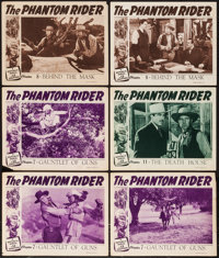 "The Phantom Rider (Republic, 1946). Lobby Cards (6) (11"" X 14"") Chapter 7 --""Gauntlet of Guns,"" Chap..."