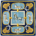 "Luxury Accessories:Accessories, Hermes Blue & Yellow ""Grand Apparat,"" by Jacques Eudel SilkScarf. ..."