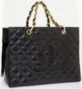 Luxury Accessories:Bags, Chanel Black Quilted Patent Leather Grand ShopperTote Bag with GoldHardware. ...