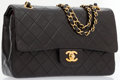 Luxury Accessories:Bags, Chanel Black Quilted Lambskin Leather Medium Double Flap Bag withGold Hardware. ...