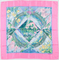 """Luxury Accessories:Accessories, Hermes Pink & Blue """"Giverny,"""" by Laurence Bourthoumieux Silk Scarf. ..."""