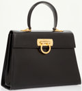 Luxury Accessories:Bags, Salvatore Ferragamo Black Leather Top Handle Bag with Gold GancioClosure. ...