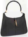 Luxury Accessories:Bags, Gucci Black Leather Jackie Bag with Bamboo Handle . ...