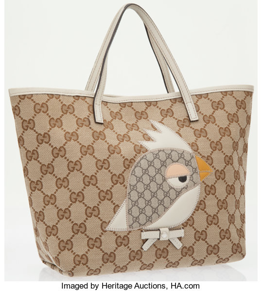 e714e2d388975b Luxury Accessories:Bags, Gucci Beige Monogram Canvas Girl Zoo Kids  Collection Tote Bag.