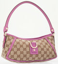 Luxury Accessories:Bags, Gucci Pink Leather & Classic Monogram Canvas Small ShoulderBag. ...