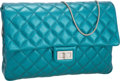Luxury Accessories:Bags, Chanel Metallic Teal Quilted Lambskin Leather Jumbo Reissue Single Flap Clutch Bag with Cable Strap. ...