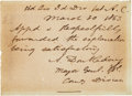 Autographs:Military Figures, Abner Doubleday Autograph Endorsement Signed...