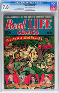 Golden Age (1938-1955):War, Real Life Comics #28 (Nedor Publications, 1946) CGC FN/VF 7.0 Creamto off-white pages....