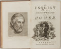 Books:Biography & Memoir, Thomas Blackwell. An Inquiry into the Life and Writings ofHomer. London: 1735. Includes foldout map of Greece. Late...