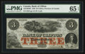 Canadian Currency: , Clifton, PC- Bank of Clifton $3 Oct. 1, 1859 Ch. # 125-10-04-04....