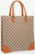 Luxury Accessories:Bags, Gucci Classic Monogram Canvas Tote Bag with Brown Leather Accents ....