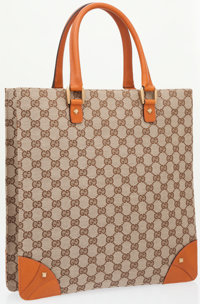 Gucci Classic Monogram Canvas Tote Bag with Brown Leather Accents