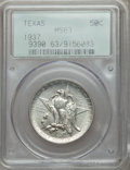Commemorative Silver: , 1937 50C Texas MS63 PCGS. PCGS Population (130/1550). NGC Census:(25/1105). Mintage: 6,571. Numismedia Wsl. Price for prob...