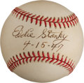 "Autographs:Baseballs, Eddie Stanky ""4-15-47"" Single Signed Jackie Robinson CommemorativeBaseball...."