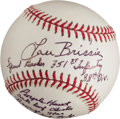 Autographs:Baseballs, Lou Brissie Single Signed Baseball With WWII Content!....