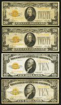 Small Size:Gold Certificates, $10 and $20 1928 Gold Certificates.. ... (Total: 4 notes)