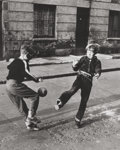 Photographs:20th Century, ROGER MAYNE (British, b. 1929). Two Boys With a Football,Brindley Rd., 1956. Gelatin silver. 11-1/2 x 9-1/4 inches(29....