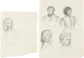 Books:Original Art, [Garth Williams, illustrator]. Two Sheets of Character Sketches. [N.p., n.d., ca. late 1940s]. Each on thin sketch paper and... (Total: 2 Items)