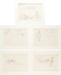 Books:Original Art, [Garth Williams, illustrator]. Lot of Twenty-One Mainly PencilSketch Studies Done by Williams for the Little House on t...(Total: 7 Items)