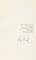 Books:Philosophy, Ayn Rand. Capitalism: The Unknown Ideal. [New York]: NAL,[1966]. First edition, number 33 of 700 numbered...
