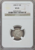 Barber Dimes: , 1905-O 10C VF25 NGC. NGC Census: (5/159). PCGS Population (8/182).Mintage: 3,400,000. Numismedia Wsl. Price for problem fr...