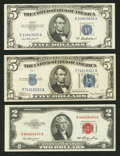 Small Size:Group Lots, A $2 Legal and Two $5 Silvers Very Fine.. ... (Total: 3 notes)