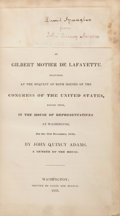 Books:Americana & American History, John Quincy Adams. Oration on the Life and Character of GilbertMotier de Lafayette Delivered at the Request of Both Hou...