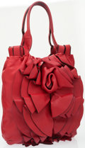 Luxury Accessories:Bags, Valentino Red Napa Leather Rose Flower Shoulder Bag. ...