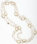 Luxury Accessories:Accessories, Chanel Gold & Glass Stone Sautoir Necklace. ...