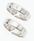 Luxury Accessories:Accessories, Hermes Diamond & Sterling Silver Double Ring. ...
