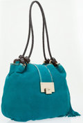 Luxury Accessories:Bags, Jimmy Choo Blue Embossed Leather Hobo Bag with Snakeskin Trim. ...