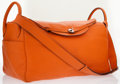Luxury Accessories:Bags, Hermes 45cm Orange H Clemence Leather Lindy Voyage Travel Bag withPalladium Hardware. ...
