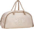 Art Glass:Daum, Chanel Metallic Gold Leather Luxury Ligne Modern Chain Bowling Bag. ...
