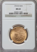 Indian Eagles: , 1910-D $10 MS65 NGC. NGC Census: (182/40). PCGS Population (83/34).Mintage: 2,356,640. Numismedia Wsl. Price for problem f...