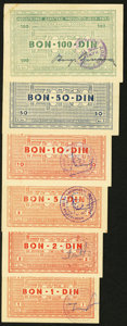World Currency: , Yugoslavia Industrijsko Zanatsko 1, 2, 5, 10, 50, 100 Dinara ND(1945) Campbell 9151, 9152, 9153, 9154, 9155, 9156. ... (Total: 6notes)