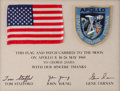 Books:Americana & American History, [Tom Stafford, John Young, and Gene Cernan]. U.S. Flag and PatchFlown to the Moon Presented by the Astronauts of Apollo 10....