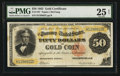 Large Size:Gold Certificates, Fr. 1197 $50 1882 Gold Certificate PMG Very Fine 25 Net.. ...
