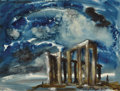 Texas:Early Texas Art - Regionalists, LLOYD GOFF (1908-1982). Cape Sunion-Temple of Poseidon,1959. Watercolor. 14.5in. x 19in.. Signed lower right. Titled an...