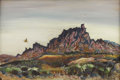 Texas:Early Texas Art - Regionalists, BILL RAKOCY (1924-). Study in Lavenders-Organ Mountains LasCruces, N.M., 1973. Acrylic on canvasboard. 24in. x 36in.. S...