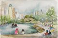 Texas:Early Texas Art - Regionalists, DORIS CHILDRESS (dec. 2001). Untitled, 1950's. Watercolor.15in. x 22in.. Signed lower left. This is a scene of Chapul...